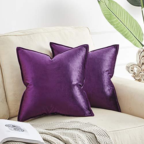 OMMATO Fundas de cojín de terciopelo de 50 cm x 50 cm, cuadradas, moradas, decorativas, para sofá, sala de estar, 50 cm x 50 cm, 2 unidades