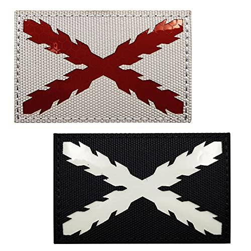 España brilla en la oscuridad Parche táctico militar Real Tercios Bandera de Cruz de Borgoña Insignias reflectantes infrarrojas españolas Emblema Sujetador Moral IR hombro Apliques Loop Hook Brazalete
