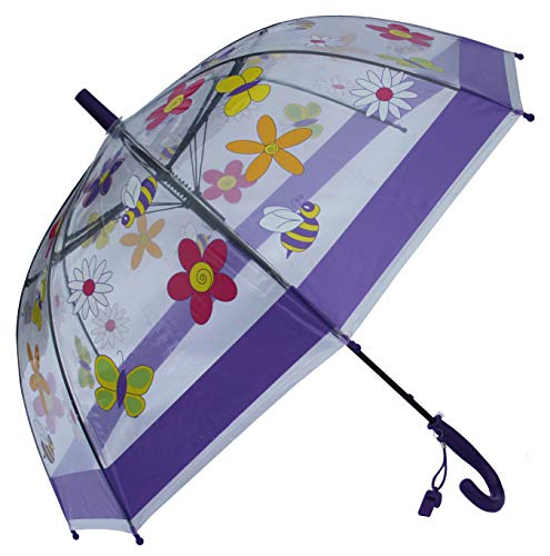 Foxfire for Kids Clear Dome Umbrella Lavender Flowers and Bees