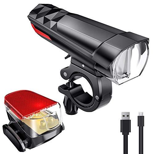 FYLINA LED Fahrradlicht Set IPX6 Wasserdicht Fahrradbeleuchtung USB Aufladbar 3 Licht-Modi 180/220/360 Lumen StVZO Zugelassen Fahrradlampe Set mit Frontlicht und Rücklicht für Mountainbike