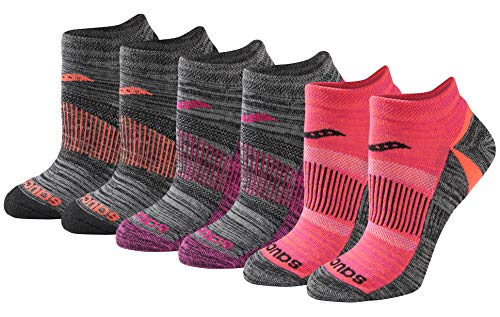 Saucony Women's Selective Cushion Performance No Show Athletic Sport Socks (6 & 12, Black Brights (6 Pairs), Shoe Size: 5-10