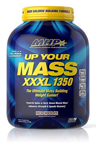 MHP UYM XXXL 1350 Mass Building Weight Gainer, Muscle Mass Gains, w/50g Protein, High Calorie, 11g BCAAs, Leucine, Milk Chocolate, 8 Servings