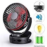 Battery Operated Clip Fan with Hanging Hook, Portable USB Desk Fan With Bright LED Light, Camping Lantern Fan, Rechargeable 5000mAh Battery Fan,Wall Fan, Mini Quiet Fan for Stroller Home Office Travel