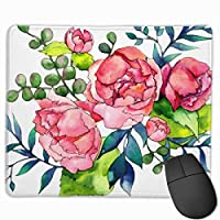 """Coral Red Pink And Navy Watercolor Peony Roses Mouse Pad Non-Slip Rubber Gaming Mouse Pad Rectangle Mouse Pads for Computers Desktops Laptop 9.8"""" x 11.8"""""""