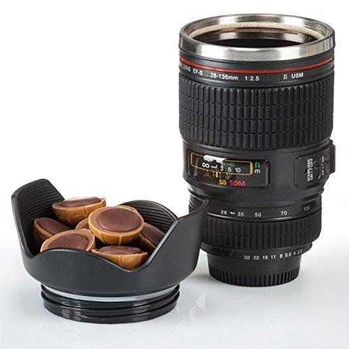 Thermobecher Kamera Tasse Kameraobjektiv Kaffeebecher Kaffeetasse Objektiv Iso-Becher 300 ml aus Doppelwandige Edelstahl mit dichten Deckel