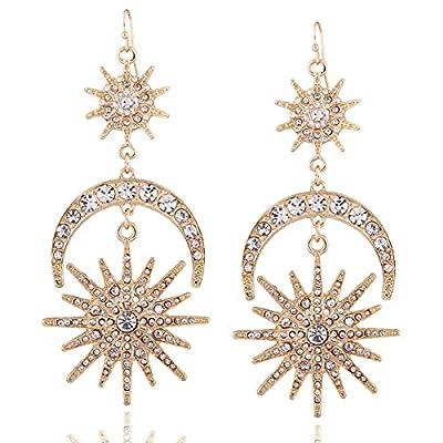 Exaggerated Luxury Sun Moon Stars Drop Earrings Rhinestone Punk Earrings for Women Jewelry Golden Boho Vintage Statement Earrings (Gold)