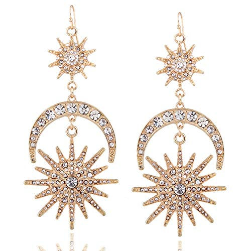Exaggerated Luxury Sun Moon Stars Drop Earrings Rhinestone Punk Earrings for Women Jewelry Golden Boho Vintage Statement Earrings