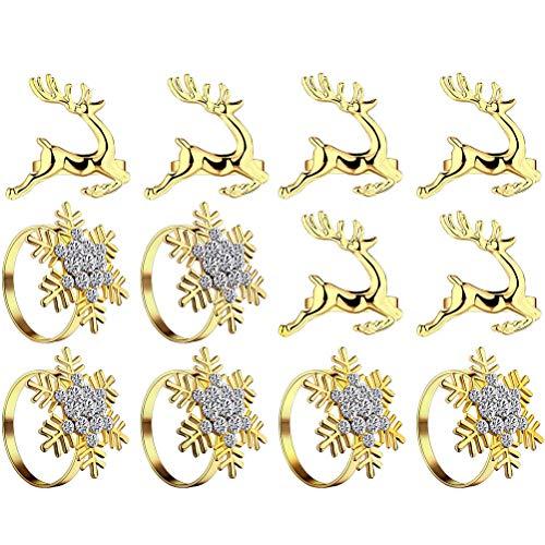 12 Stücke Weihnachten Schneeflocken Elch Serviettenringe, Golden Weihnachten Servietten Ringe Halter für Weihnachten Hochzeit Tisch Dekoration