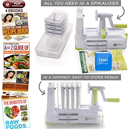 Product Image 4: Brieftons 7-Blade Spiralizer: Strongest-and-Heaviest Duty Vegetable Spiral Slicer, Best Veggie Pasta Spaghetti Maker for Low Carb/Paleo/Gluten-Free, With Container, Lid, Blade Caddy & 4 Recipe Ebooks