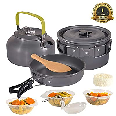 Camping Cookware Set Cooking Mess Kit Nonstick, Lightweight Pots, Pans With Mesh Set Bag for Backpacking, Hiking, Picnic,Outdoor