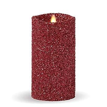 Luminara Vintage Red Glitter 7  Flameless Pillar Candles w/Remote