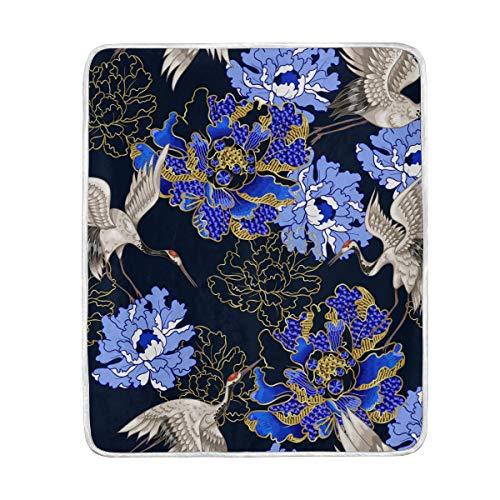 SENNSEE Sensee - Manta de Terciopelo con diseño de grulla con Flores...