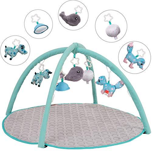 babyjune Krabbeldecke für Baby mit Spielbogen Erlebnisdecke Spieldecke Spielmatte Activity-Decke I 0-18 Monate I 5 abnehmbare Sensorik-Spielzeuge I Grau I Maße: Ø95 cm