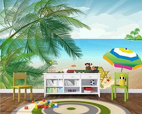 Personalizado Papel Pintado 3d Pared Dibujos Animados Paisaje Marino Cocotero Playa Fotomural fondo Salón Dormitorio Despacho Pasillo Decoración Murales Paredes 200cmX140cm