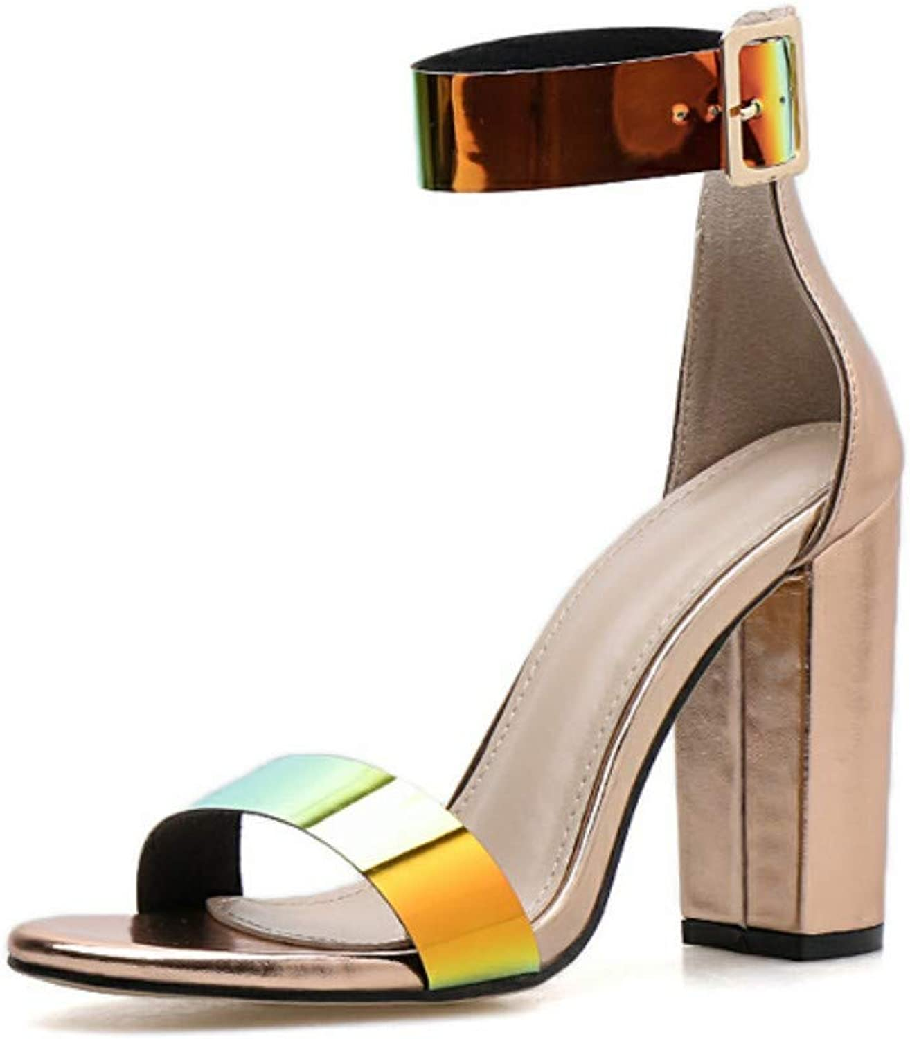 JQfashion Colour Discoloration of Women's High-Heeled Sandals Thick-Heeled Fish-Billed Roman shoes