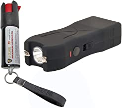 Pocket Taser Pepper Spray Kit (1) High Volt Amp Mini Stun Gun Flashlight (1) Police Strength Pocket Keychain 1/2 oz Tear Gas Best Self Defense Weapons For Women or Men Taser Color (Black)
