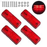 Justech 4PCs 4LED Luces Laterales para Remolque con E-Mark LED Lámparas de Marcador de Posición para Camión de 12V 24V Pilotos Laterales LED Impermeable IP67 para Camioneta Camión Remolque - Rojo
