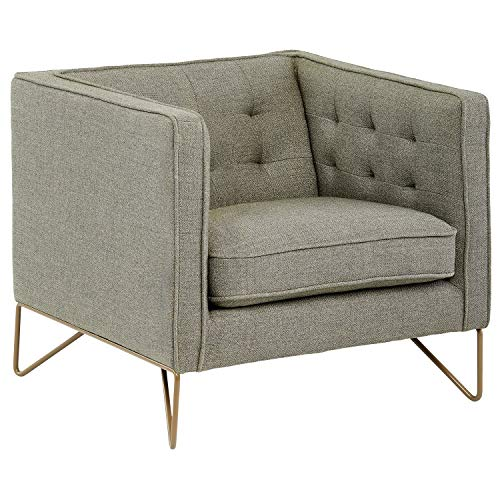 """Rivet Brooke Contemporary Modern Tufted Living Room Accent Chair, 35""""W, Grey"""