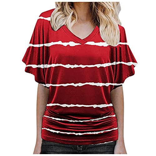 K-Youths Ladies Extended Shoulder tee Camiseta para Mujer V Neck Negro Blanco Camisa Manga Corta Plus Size en algodón, diseño Informal