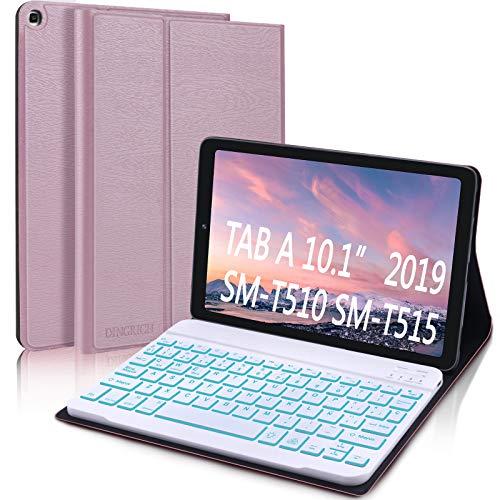 DINGRICH Funda Teclado para Samsung Galaxy Tab A 10.1 2019 T510 T515 (Español Ñ), Funda con Teclado Bluetooth Inalámbrico 7 Color Retroiluminación para Galaxy Tab A 10.1 T510/T510 Ora Rosa