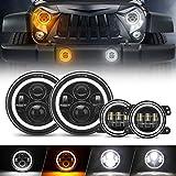 SUPAREE 7' LED Headlights + 4' Fog Light Replacement [HALO DRL + Turn Signal] [H4 Plug n Play] Compatible with 1987-2018 Jeep Wrangler JK JKU TJ LJ Rubicon Sahara Unlimited