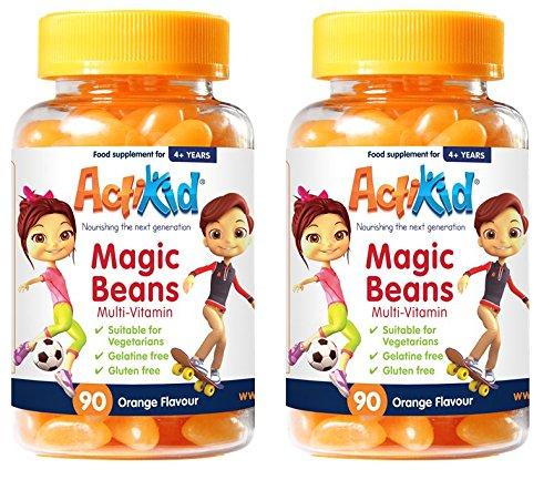 Special Offer 2X ActiKid Magic Beans Multi-Vitamin 90x Orange Flavour, Gelatin Free, Immune System Booster