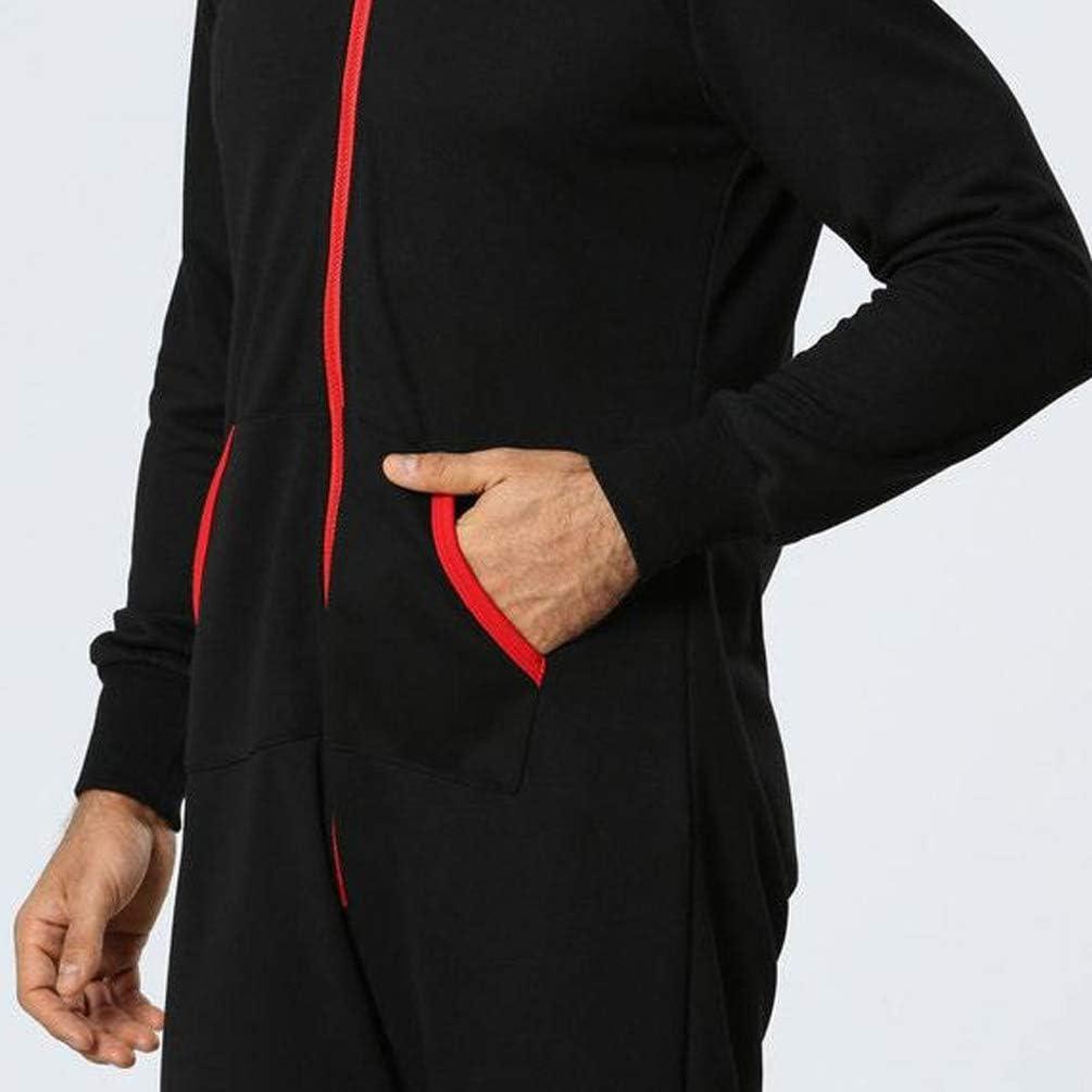 Ketamyy Hombre Pijama Mono Entero con Capucha Color S/ólido Casual Cremallera Manga Larga Jumpsuit Adulto Una Pieza Primavera Invierno Oto/ño C/ómodo Termica Loungewear Pentagrama