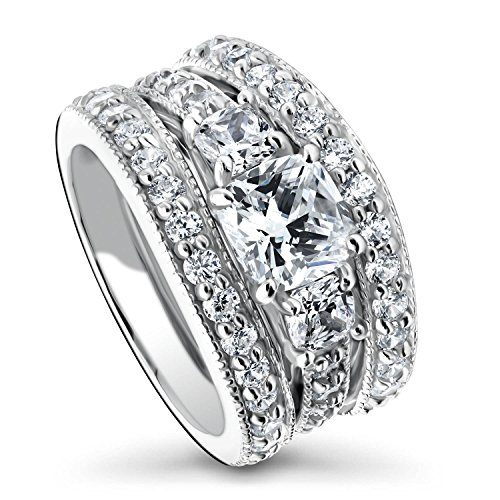 BERRICLE Rhodium Plated Sterling Silver Cushion Cut Cubic Zirconia CZ 3-Stone Anniversary Engagement Wedding Ring Set 3.2 CTW Size 7.5
