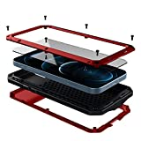 WEFOR Compatible with iPhone 12/12 Pro Metal Case with Built-in Screen Protector, Full Body Armor Cover, Rugged Military Grade Heavy Duty Shockproof Bumper for iPhone 12/12 Pro 6.1 Inch(Red)