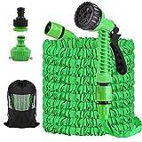 Flexibler Gartenschlauch 125FT/37,5m Dehnbarer Flexischlauch Flexi Wasserschlauch Flexibel Multisfunktionsbrause mit 7 Funktionen für Gartenbewässerung, Autowäsche, Haus Spülen, PET-Bäder (Grün)
