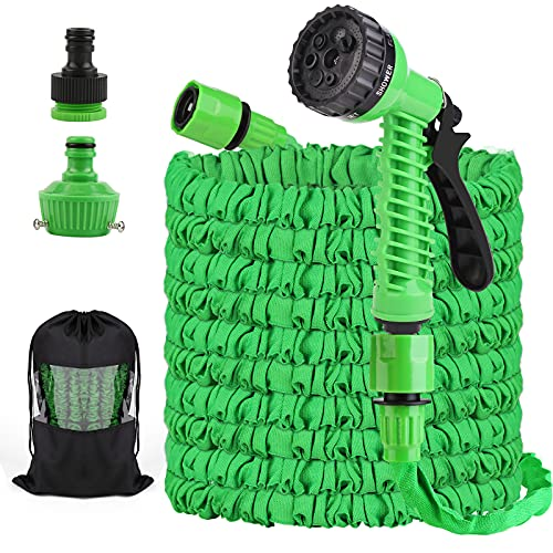 125ft Expandable Garden Hoses, Retractable Water Hose with 7 Function Nozzles Spray Gun, Lightweight Hose Pipe for Outdoor (Green)