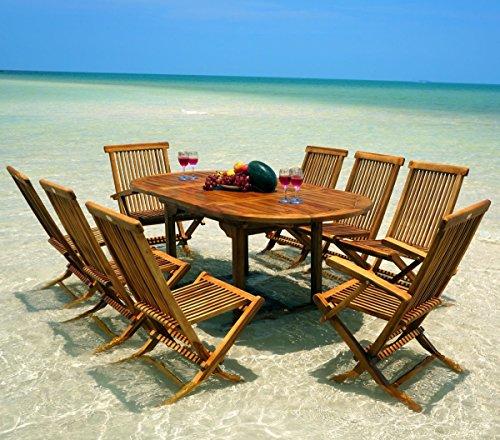 Wood-en-Stock - Conjunto de mesa ovalada y 8 sillas para jardín (acabado barnizado)