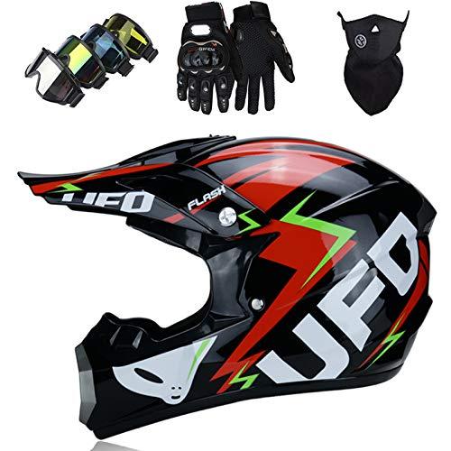 Cascos Integrales Infantil con Guantes Gafas Máscara, Aprobado DOT Conjunto Casco Motocross Motocicleta Adultos Casco protector Offroad Dirt Bike, Negro, estilo UFO