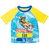 Paw Patrol Nickelodeon Chase Marshall Rubble Toddler Boys Short Sleeve Swim Rash Guard Yellow/Blue 2T
