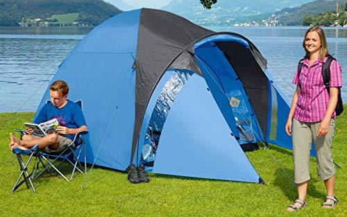BERGER Kuppelzelt Kiwi NZ 4 Plus Campingzelt Trekking Wandern WS3000mm Zelt Moskito-Tür blau Strand