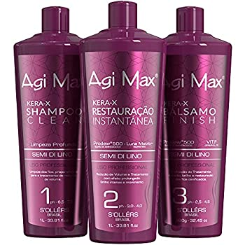 Agi Max Brazilian Natural Keratin Hair Treatment Kit for Straightening Curls and Frizz Reducing Dry Damage Nourish and Hydrate Root to Tip Support Color Treated Styles - 1 liter - 3 Steps  3 x 1000ml