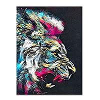 HANSHUIHONGポスター抽象動物絵画現代ライオングラフィティウォールアート面白い写真クアドロスキャンバスポスタープリント家の装飾-60x80cmx1フレームなし