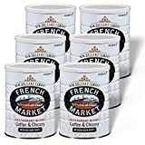 French Market Coffee, Coffee and Chicory Restaurant Blend, Medium-Dark Roast Ground Coffee, 12 Ounce Metal Can (Pack of 6)