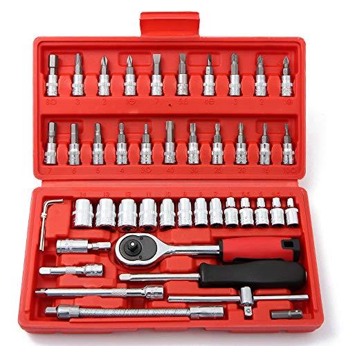 JDDSA Autoreparatursatz Werkzeugkasten 46 Teilig | Werkzeugkiste | Werkzeugtasche | Werkzeug Set | Werkzeug-Trolley | Chrom-Vanadium Stahl Werkzeugkoffer