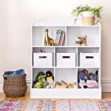 Guidecraft Toy Storage Organizer - White: Kids' Wooden Multi Shelf Cubby with Bins for Books, Toys and Clothes - Playroom Bookshelf with Baskets