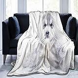 QIUTIANXIU Mantas para Sofás de Franela 150x200cm Bonita Raza Pequeño Husky Siberiano Perrito Cachorro Belleza Linda...