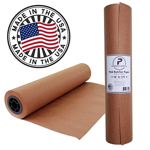 Pink Butcher Paper Roll 18' x 2100' (175ft)   Best Peach Wrapping Paper for Smoking Meat, Brisket,...