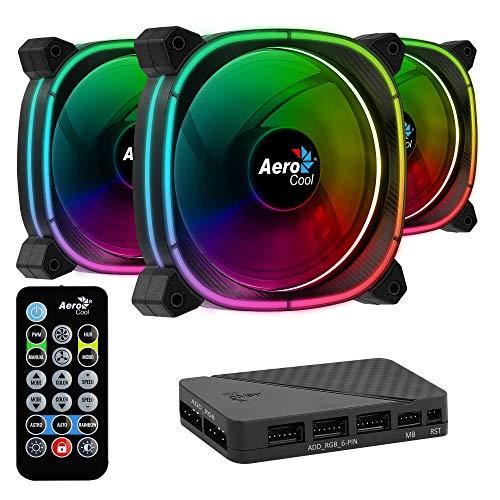 Aerocool ASTRO, ventilador PC 12 cm, 18 LED, control remoto RGB, antivibración