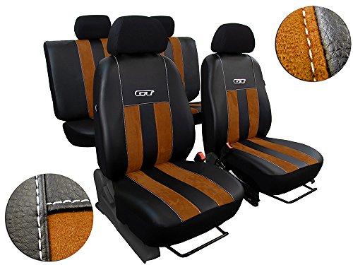 POK-TER-TUNING Autositzbezüge Passend für E-Klasse W210 .Sitzbezüge Set Kunstleder mit Alcantra. Design GT. in Diesem Angebot Braun.
