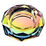 MollyYou Cenicero Octagonal Symphony Cenicero de Cristal Cenicero de Moda y Personalidad, Adecuado para Sala de Estar, KTV, Sala de reuniones (Size : 18cm)