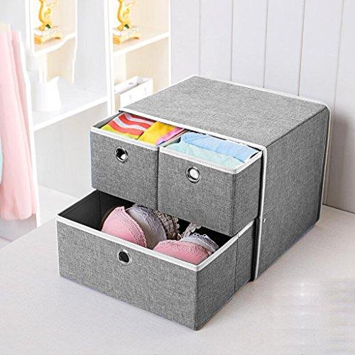 Xuan - Worth Another Boîte de Rangement Gris de Stockage de sous-vêtements boîte de Rangement de Finition de tiroir (31.5 * 26.5 * 26.5)