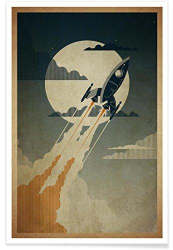 """JUNIQE® Raumschiffe & Raketen Retro Poster 30x45cm - Design """"Night Launch"""" entworfen von Danny Haas"""
