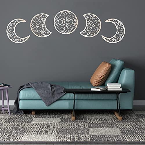 5 pegatinas de pared 3D con fase lunar para colgar en la pared, autoadhesivas, sin perforaciones, para dormitorio, sala de estar, entrada, salón, apartamento (madera)