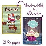 Cupcake eBook Back-Buch con Topping Special incluida Retro-Blechschild Cupcake Türschild Deko Geschenk-Set Cupcakes