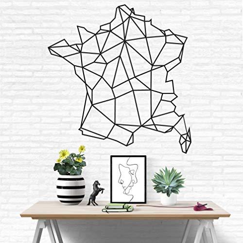 Carte de France en métal, carte géométrique de France, art mural en métal, décoration intérieure, pendaison murale, art mural en métal, carte France métal 58 x 60 cm